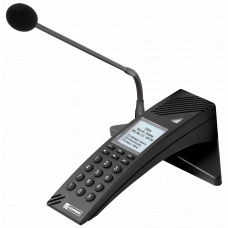 IP desktop station with standard keypad, LCD display and gooseneck microphone