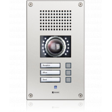 IP vandal resistant wallmount station with three call buttons and integrated camera