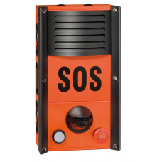 Industrial SOS station with one LED and one red mushroom button, loudspeaker and microphone