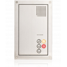 Frontplate for cell terminal with call / emergency button, light button, music selection, microphone and loudspeaker